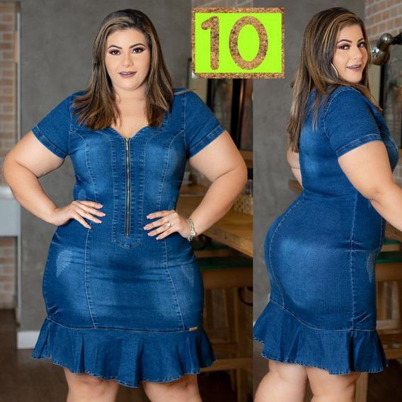 Vestido Jeans Roupas Feminina Tamanho Grande Luxo - Ref. 10