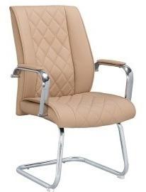 Cadeira Interlocutor Fixa Base Cromada Premium Bege