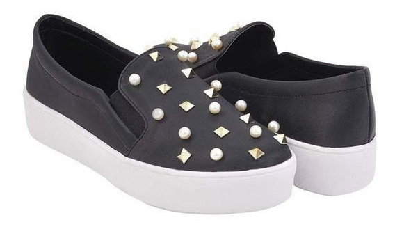 Zapato Sneakers Dama Negro Con Perlas Mundo Terra 017433