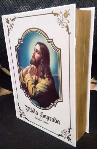 Bíblia Sagrada Católica Edição Luxo Capa Branca + Cd
