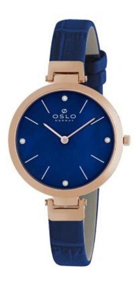 Relógio Feminino Slim Rose Oslo Com Fundo Azul Original