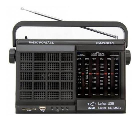 Rádio Motobras Rm-pu32ac Fm/am 6 Faixas Usb/sd Bivolt