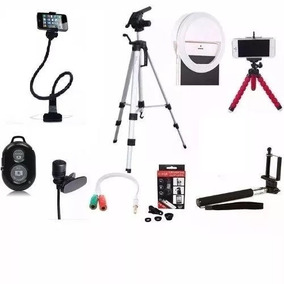 Kit Completão 10x1 Youtubers Tripé 1,20m, Flexivel, Anel Led