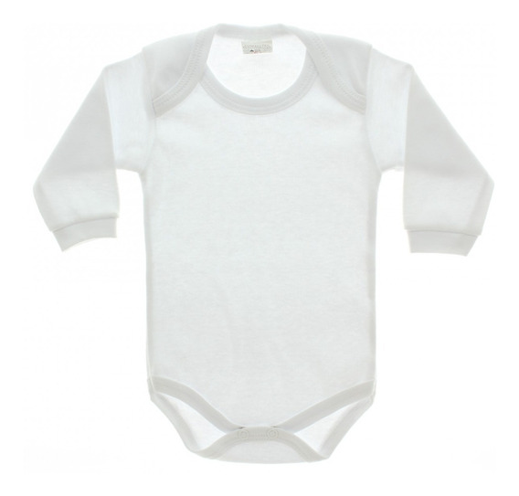 Body Bebê Manga Longa Kit 3 Unid. 100% Algodão Branco