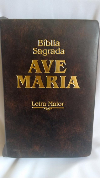 Bíblia Sagrada Ave-maria Letra Maior Marrom Zíper