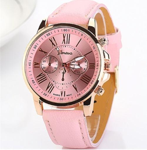 Relógio Feminino Geneva, Pink E Gold