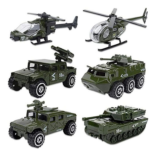 Carro De Juguete Militares, 6 Unidades, Color Verde