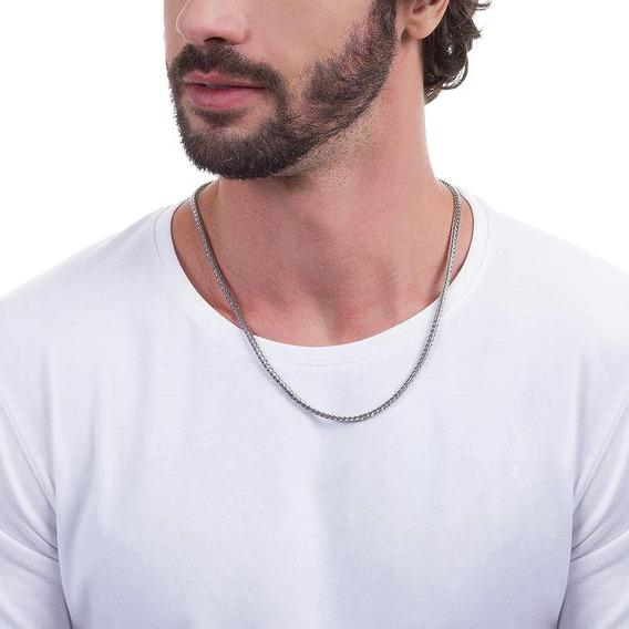Corrente Cordão Aço Inox Masculina Grossa 60cm Rommanel 2301