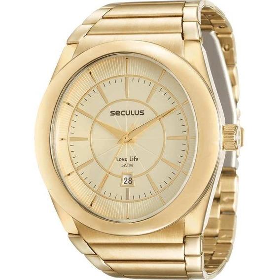 Relógio Seculus Masculino Dourado 23537gpsvda1