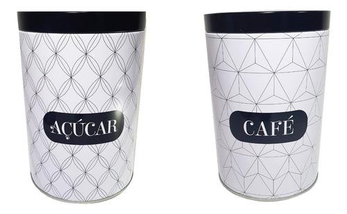 Kit 2 Latas Porta Condimentos  Café Açúcar Branco Pequeno