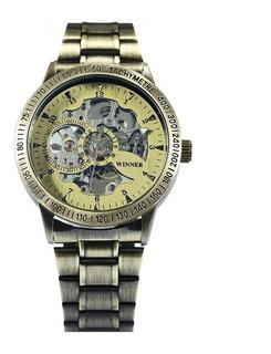 Reloj Automático Mecánico Skeleton Winner Stone Hombre Lujo