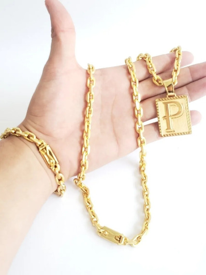 Cordão Pulseira E Pingente 8mm Cadeado Banhado A Ouro Luxo