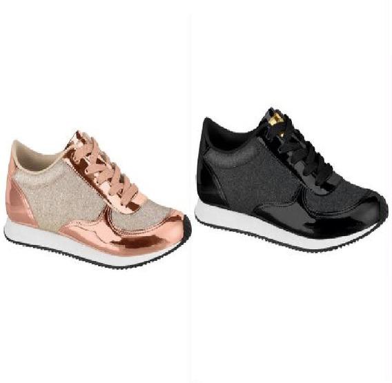 Sneaker Tenis Feminino - Recortes Metalizado Preto Rosê