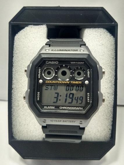 Relógio Casio Ae 1300 Borracha Original Cx Prata