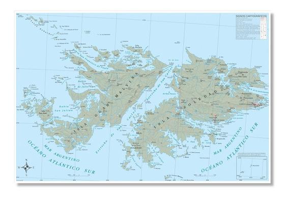 Mapa Físico Político Islas Malvinas 90cmx61cm