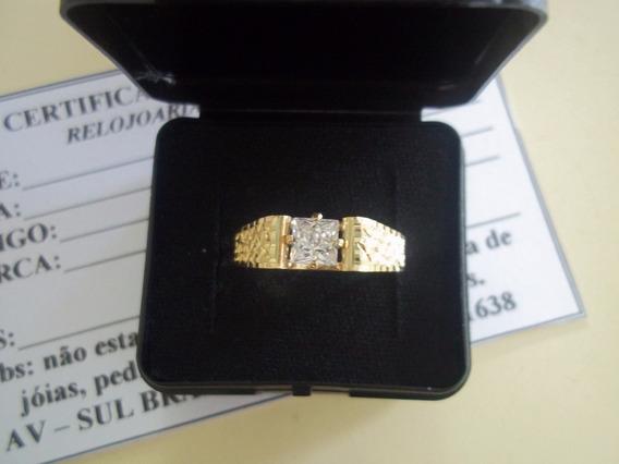Anel Unissex Ouro 12k Com Pedra Branca