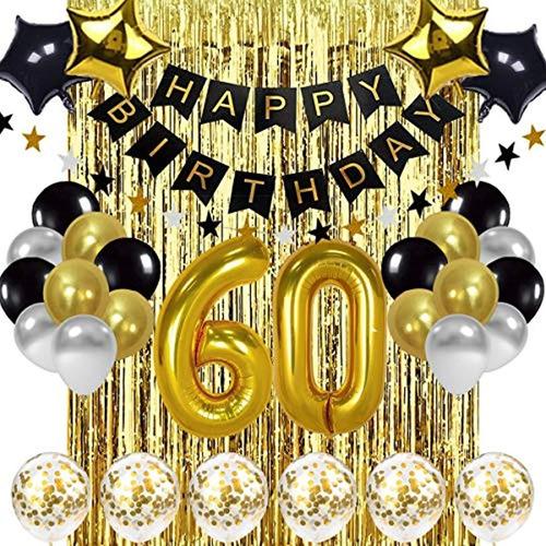 Kit Decoracion De 60º Cumpleaños De Color Negro Y Dorado