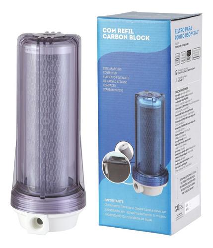 Filtro Agua 9 3/4 Ponto De Uso Pou Carvão Ativado Bbi 230 Transparente Remove Cloro Anticloro