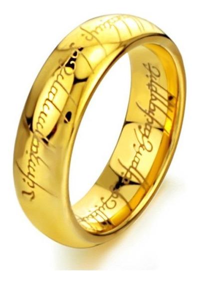 Anel Senhor Dos Anéis Folheado A Ouro Tungstênio