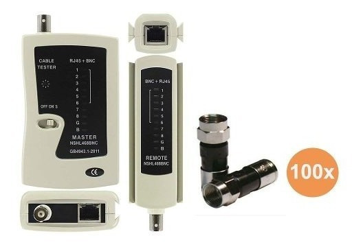 Kit Testador De Cabos Rede Lan Bnc Rj45 Rj11 E 100 Rg6 F