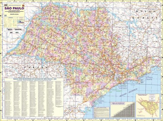 Mapa Do Estado De São Paulo - 120cm X 90cm Gigante Dobrado