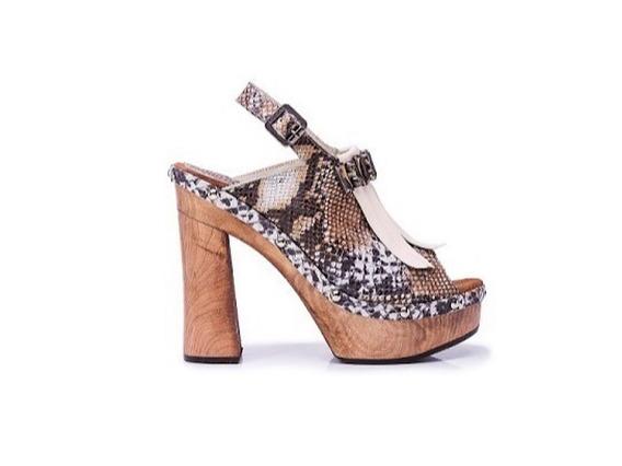 Zapato Mujer Sandalia Alta Natacha Reptil Marrón #3992