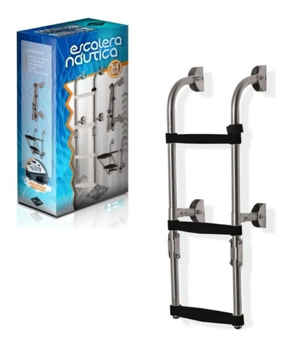 Imagen 1 de 4 de Escalera Náutica Plegable 3 Esc Acero Inox- Barcos Lanchas