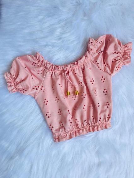 Cropped Ciganinha Infantil Lese Furadinho Mini Diva Meninas