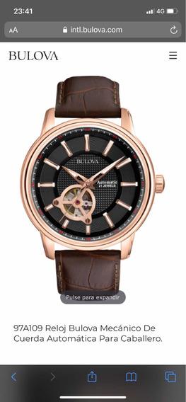 Reloj Bulova Automatico Open Heart Original 97a109