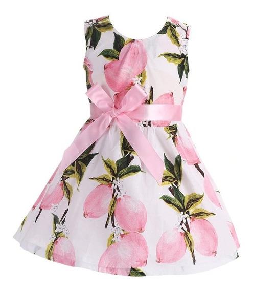 Vestido Infantil Menina Florido Com Laço Festa