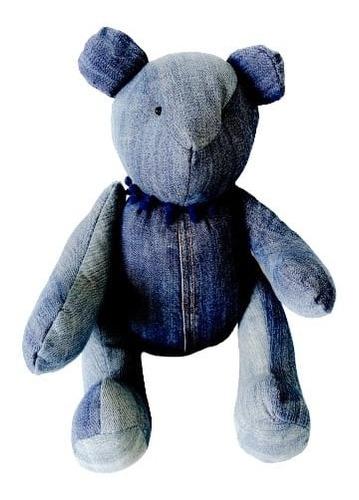 Urso Ursinho De Tecido Jeans Reciclado