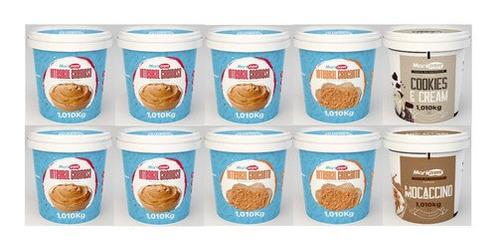 Imagem 1 de 8 de Kit 10x Pasta De Amendoim Manicrem 1kg