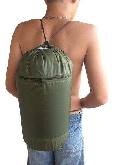 Mochila Saco Bolsa Ombro Cairê Militar Camping Verde Preto