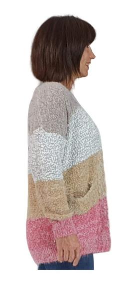 Saco Mujer Sweater Largo Tejido Combinada Boucle Invierno