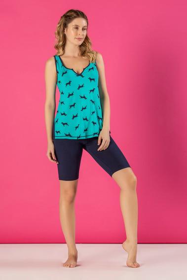 Pijama Viscolycra Com Bermuda Ciclista Feminino - Ref. 5437
