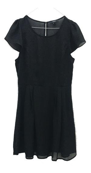Vestido Forever 21 Nuevo!!! Negro De Gasa Talle L C/manguita