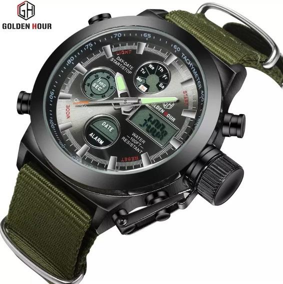 Relógio Esportivo Militar Golden Hour Promoção Limitada