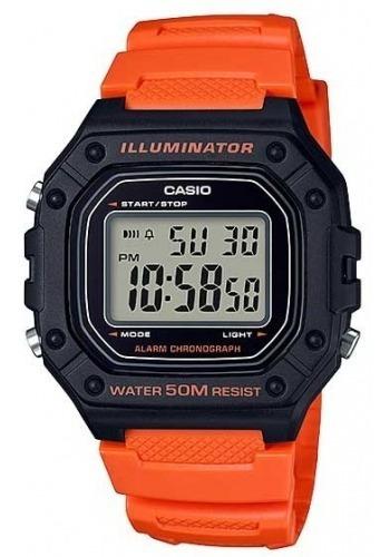 Relógio Casio Masculino Iluminator W-218h 4b2vdf Laranja