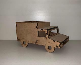 Souvenir Camión De Fibrofacil 15x8x8cm