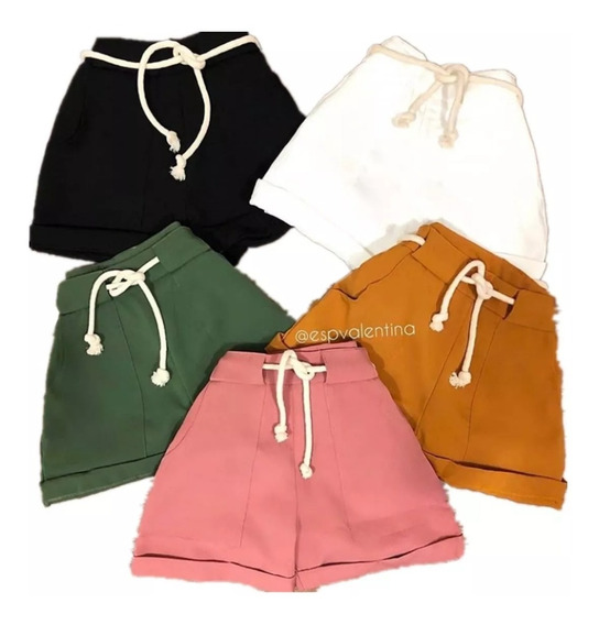 Shorts Feminino Cintura Alta Bengaline Com Cordão Bolsos