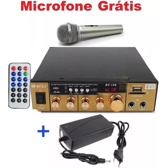 Amplificador Áudio Receiver Bluetooth 110v/220v + Microfone