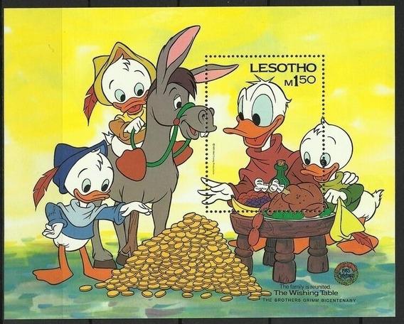 1985 Disney- Pato Donald Y Sobrinos - Lesotho (bloque) Mnh