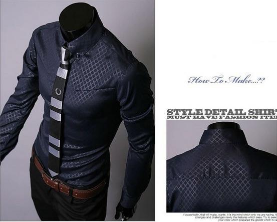 Camisa Casual Slim Fit Corte Pegado Modo Asiatica Rombos