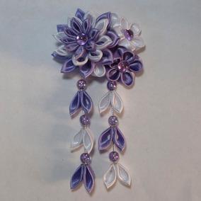 Kanzashi - Ornamento Para Cabelo - Arranjo Mini Gérbera.