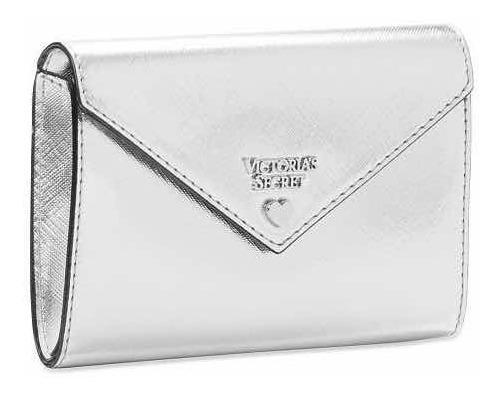 Victoria Secret Pouch Jewel Metallic Envelope Plateado Sobre