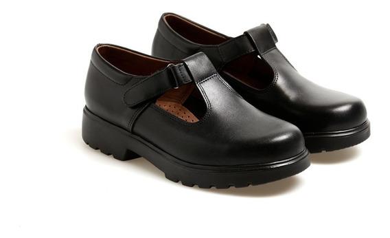 Zapatos Escolares Cuero Guillermina Negros Febo (talle 33)