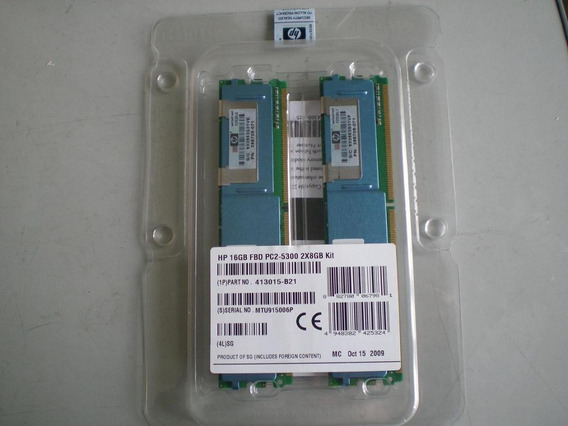 Kit Memoria Ram 413015-b21 Hp 16gb Fbd Pc2-5300 2x8gb