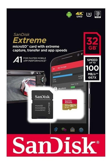 Cartão Micro Sd Sdhc Sandisk Extreme 32gb Classe 10 Uhs-3 4k