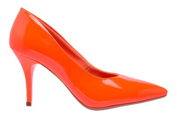 Sapato Scarpin Feminino Bico Fino Salto Medio 7 Cm Verniz