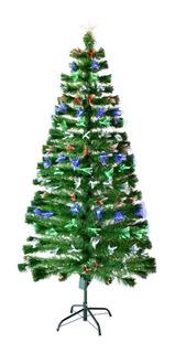 Arbol Fibra Optica Led Multicolor 1.80 Metros Verde Navidad
